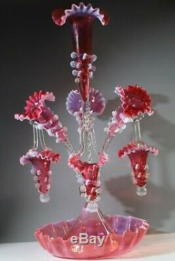 Opalescente Cranberry Vaseline Épergne