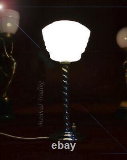Original Années 1940 Art Déco Orge-twist Chrome Desk Lamp Opaline Lait Verre Ombre