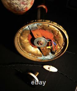 Original Edwardian Brass Acajou Opaline Plancher De Verre Debout Art & Crafts Lampe