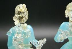 Pair Vintage Murano Or Poussière Aqua Opalescent Verre Danseur Courtier Figurines
