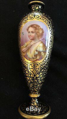Paire De Antique 19ème C Bohême Moser & Émaillé Vases En Verre Gilded __gvirt_np_nn_nnps<__ Portrait