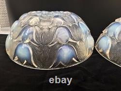 Paire Vaseline Opalescent Verre Art Déco Lampsades Scons Lalique