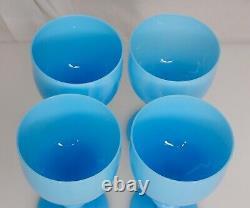 Portieux Vallerysthal Pv French Blue Opaline 5,25 Gobelet De Vin En Verre 83480