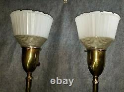 Pr Mid-century Modern Murano Opaline Glass Lamps National Home Council Shades