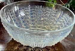 R Lalique 1935 Oursins # 2 Opalescent 8 Bowl # 3308 Verre Cristal Monnaie Rene