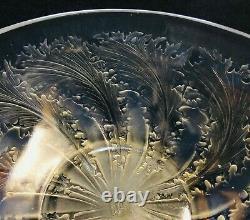 R Lalique -chicoree- Frosted - Plat De Bol De Pièce Maîtresse En Verre Opalescent Vda No 321
