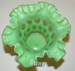Rare 1950 Vintage Fenton Opalescent Green Topaz Coin Dot Ruffled Vase 6 H