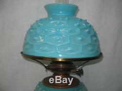 Rare Blue Glass Art Opalescent Gwtw Mikado Design