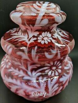 Rare Fenton Cranberry Opalescent Daisy Et Fern Apothicaire Jar 8 X 6.5 Euc