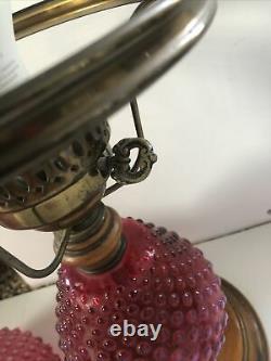 Rare Fenton Verre Canneberge Opalescent Hobnail Lampe