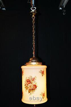 Rare Genuine Années 1940 Art Déco Opaline Milk Glass Schoolhouse Pendentif Light Lantern