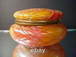 Rare Loetz Art Glass Art Nouveau Chine ' Arc-en-iridescent Boîte De Poudre Tchèque