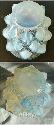 Rare René Lalique France Bleu Crème En Verre Opalescent Vase Rampillon Vers 1927