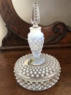 Rare Vintage Fenton Art Glass Français Opalescent Hobnail Cologne Boxtle