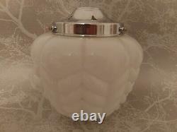 Rare Vintage Rasberry Art Déco Opaline Verre Blanc Plafond Pendentif Lumière Nuances