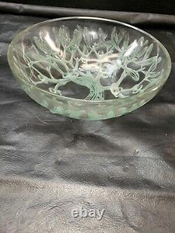 Rare Vintage René Lalique France Gui Mistletoe Opalescent Bowl 9