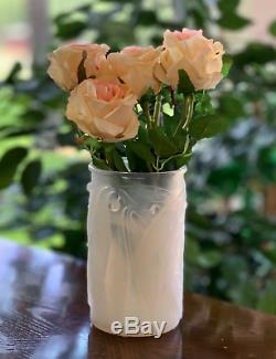 René Lalique Opalescent Bleu Laurier Vase Magnifique Signé R Lalique (rené)