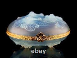 Sabino Paris France Opalescent Crystal Grand Ormolu Hinged Box Baies & Feuilles