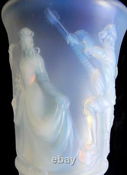 Sabino Style Bleu Opalescent Grand Vase En Verre D'art Menuet France