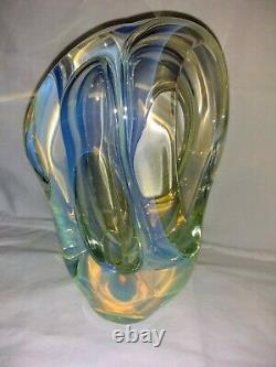 Sculpture En Verre Résumé Art Opalescent Charles Wright Signé - Daté