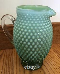 Super Rare Vintage Fenton Art Glass Vert Opalescent Hobnail Tankard Pichet