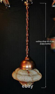 Superbe 1940 Art Déco Grand Opaline Lait Lanterne Légère Pendentif Plafonier