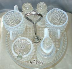 + Tmn Prf40sfenton Glassfrnch Whiteopalescenthobnailwithtray7pc Menage