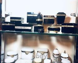 Un Antique Français Opalines Box Empire Cercueil Era Brass Trim, Baccarat