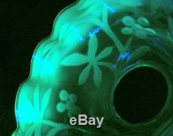 Uranium Antique Vaseline Verre Opalescent Vert Huile Lampe Ombre Art Nouveau