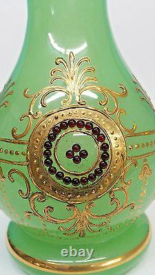 Vase Antique De Bijoux D'opaline Verte