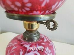 Verre Fenton Cranberry De Vtg 1950 Opalescent Daisy Fern Ouragan Lamp 14,5