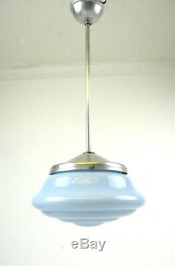 Verre Rare Plafond Original Streamline Bauhaus Allemand Lampe Opaline Art Déco 1925