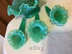 Verre Vintage Fenton Art Vert Opalescent Cloutés Épergne