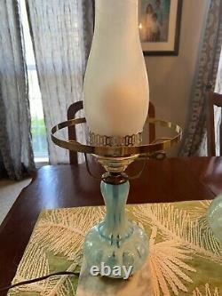 Vieille Lampe En Verre De Fenton Bleu Opalescent Testée
