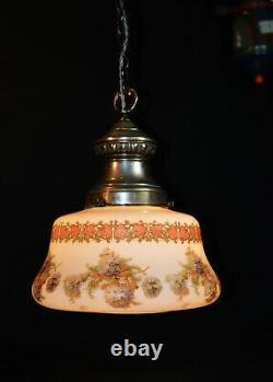 Vintage 1930s Art Déco Maison D'école Peint À La Main Opaline Verre Pendentif Lumière
