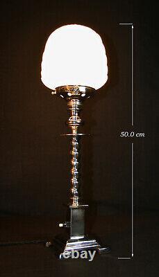 Vintage 1940 Rare Antique Lampe Art Déco Orge Twist Opaline Ombre 4 Pieds De Base