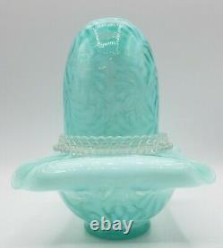 Vintage 3 Pc Fenton Verre Bleu Opalescent Fern Fairy Lampe Sticker Léger Marqué
