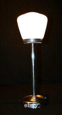 Vintage Années 1930 Art Déco Chrome Lampe Veritas Gaz Galerie Dôme Design Opaline Ombre