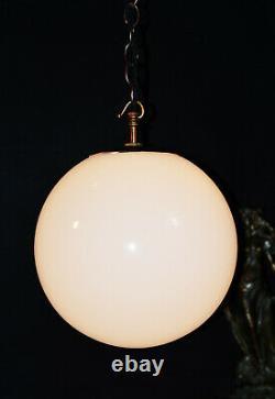 Vintage Années 1940 École Art Déco Maison Grande Lumière Opaline Verre Globe Ombre