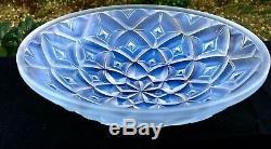 Vintage Art Déco Français Hunebelle Verre Opalescent Géométrique Dahlia Bowl