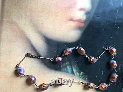 Vintage Art Déco Opalescent Feu Opal Foil Verre Vénitien Murano Collier De Perles