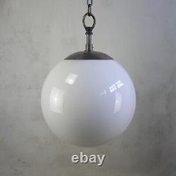 Vintage Art Déco Pendentif Industriel Light Shade Opaline Milk Glass Globe
