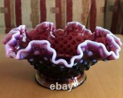 Vintage Authentique Fenton Hobnail Glass Plum Opalescent Epergne