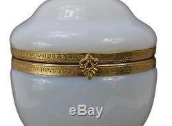 Vintage Blanc Opaline Italienne Boîte À Bijoux Hinged Trinket Brass Case