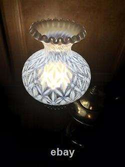 Vintage Brass Genie Lamp Fenton Snowflake Glass Shade Rare Opalescent Ruffled