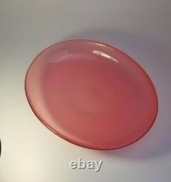 Vintage Des Années 1960 Archimede Seguso Opalescent Rose Plaque D'art En Verre Opale Bol De Fruits