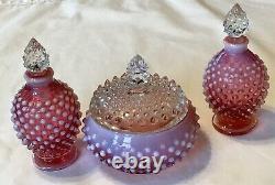 Vintage Fenton Art Glass Cranberry Opalescent Hobnail Powder Vanity Parfume Set