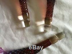 Vintage Fenton Art Glass Grand Prune Sombre Opalescent Cloutés Épergne N8