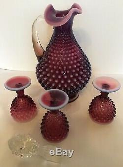 Vintage Fenton Art Glass Plum Opalescent Cloutés Decanter Et 3 Verres De Vin
