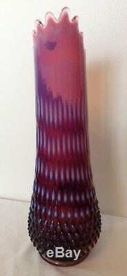 Vintage Fenton Art Glass Plum Opalescent Cloutés Extensible Pitcher 14